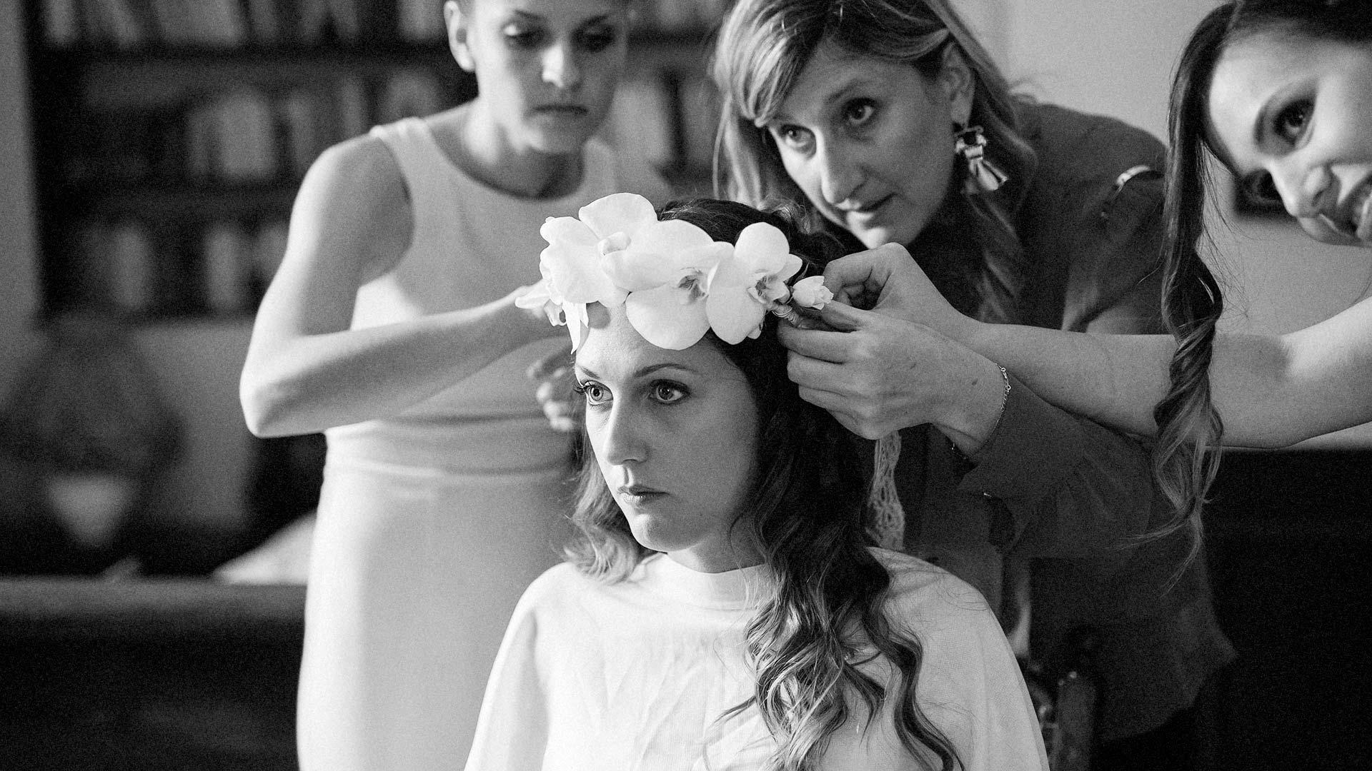 Particolare della corona della sposa